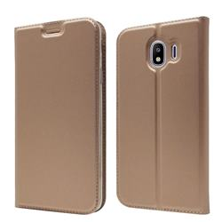 Ultra Slim Card Magnetic Automatic Suction Leather Wallet Case for Samsung Galaxy J4 (2018) SM-J400F - Rose Gold