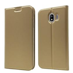 Ultra Slim Card Magnetic Automatic Suction Leather Wallet Case for Samsung Galaxy J4 (2018) SM-J400F - Champagne