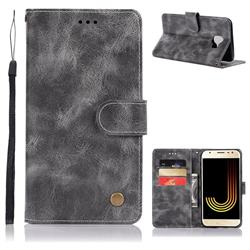 Luxury Retro Leather Wallet Case for Samsung Galaxy J4 (2018) SM-J400F - Gray
