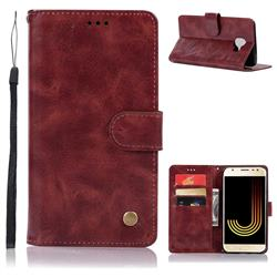 Luxury Retro Leather Wallet Case for Samsung Galaxy J4 (2018) SM-J400F - Wine Red