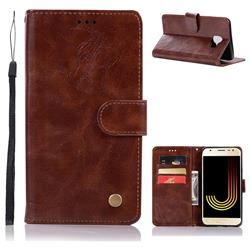 Luxury Retro Leather Wallet Case for Samsung Galaxy J4 (2018) SM-J400F - Brown