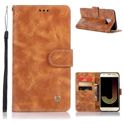 Luxury Retro Leather Wallet Case for Samsung Galaxy J4 (2018) SM-J400F - Golden