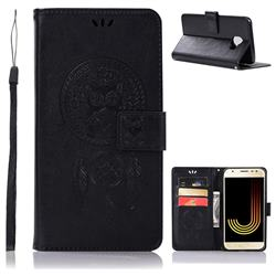 Intricate Embossing Owl Campanula Leather Wallet Case for Samsung Galaxy J4 (2018) SM-J400F - Black