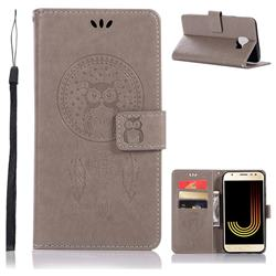 Intricate Embossing Owl Campanula Leather Wallet Case for Samsung Galaxy J4 (2018) SM-J400F - Grey