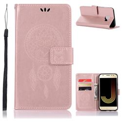 Intricate Embossing Owl Campanula Leather Wallet Case for Samsung Galaxy J4 (2018) SM-J400F - Rose Gold
