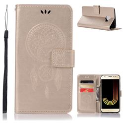 Intricate Embossing Owl Campanula Leather Wallet Case for Samsung Galaxy J4 (2018) SM-J400F - Champagne