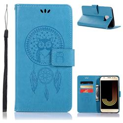 Intricate Embossing Owl Campanula Leather Wallet Case for Samsung Galaxy J4 (2018) SM-J400F - Blue