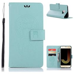Intricate Embossing Owl Campanula Leather Wallet Case for Samsung Galaxy J4 (2018) SM-J400F - Green