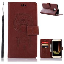 Intricate Embossing Owl Campanula Leather Wallet Case for Samsung Galaxy J4 (2018) SM-J400F - Brown