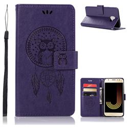 Intricate Embossing Owl Campanula Leather Wallet Case for Samsung Galaxy J4 (2018) SM-J400F - Purple