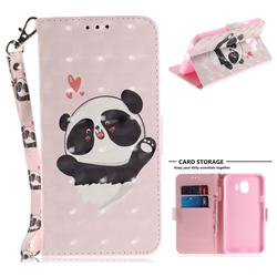 Heart Cat 3D Painted Leather Wallet Phone Case for Samsung Galaxy J4 (2018) SM-J400F