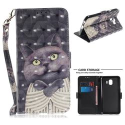 Cat Embrace 3D Painted Leather Wallet Phone Case for Samsung Galaxy J4 (2018) SM-J400F