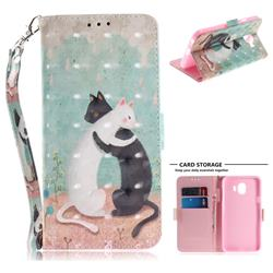 Black and White Cat 3D Painted Leather Wallet Phone Case for Samsung Galaxy J4 (2018) SM-J400F