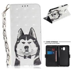 Husky Dog 3D Painted Leather Wallet Phone Case for Samsung Galaxy J4 (2018) SM-J400F