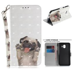 Pug Dog 3D Painted Leather Wallet Phone Case for Samsung Galaxy J4 (2018) SM-J400F