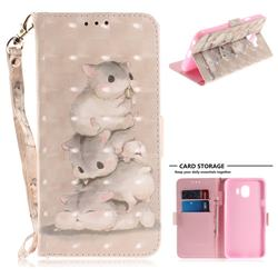 Three Squirrels 3D Painted Leather Wallet Phone Case for Samsung Galaxy J4 (2018) SM-J400F