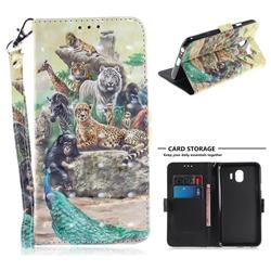 Beast Zoo 3D Painted Leather Wallet Phone Case for Samsung Galaxy J4 (2018) SM-J400F