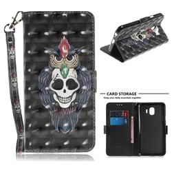 Skull Cat 3D Painted Leather Wallet Phone Case for Samsung Galaxy J4 (2018) SM-J400F