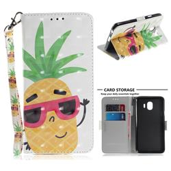Pineapple Glasses 3D Painted Leather Wallet Phone Case for Samsung Galaxy J4 (2018) SM-J400F