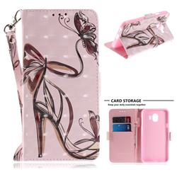 Butterfly High Heels 3D Painted Leather Wallet Phone Case for Samsung Galaxy J4 (2018) SM-J400F