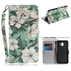 Watercolor Flower 3D Painted Leather Wallet Phone Case for Samsung Galaxy J4 (2018) SM-J400F