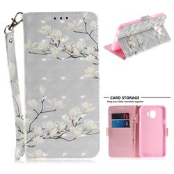 Magnolia Flower 3D Painted Leather Wallet Phone Case for Samsung Galaxy J4 (2018) SM-J400F