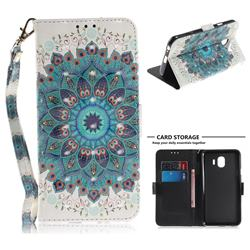 Peacock Mandala 3D Painted Leather Wallet Phone Case for Samsung Galaxy J4 (2018) SM-J400F