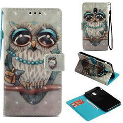 Sweet Gray Owl 3D Painted Leather Wallet Case for Samsung Galaxy J4 (2018) SM-J400F