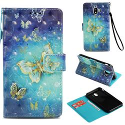 Gold Butterfly 3D Painted Leather Wallet Case for Samsung Galaxy J4 (2018) SM-J400F