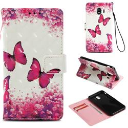 Rose Butterfly 3D Painted Leather Wallet Case for Samsung Galaxy J4 (2018) SM-J400F