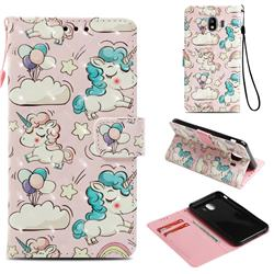 Angel Pony 3D Painted Leather Wallet Case for Samsung Galaxy J4 (2018) SM-J400F