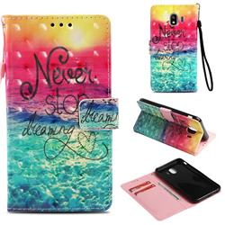 Colorful Dream Catcher 3D Painted Leather Wallet Case for Samsung Galaxy J4 (2018) SM-J400F