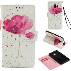 Watercolor 3D Painted Leather Wallet Case for Samsung Galaxy J4 (2018) SM-J400F
