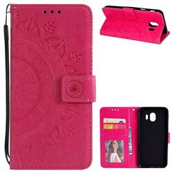 Intricate Embossing Datura Leather Wallet Case for Samsung Galaxy J4 (2018) SM-J400F - Rose Red