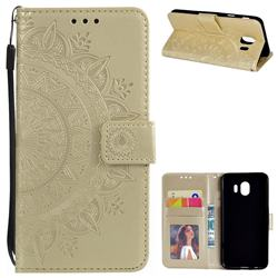 Intricate Embossing Datura Leather Wallet Case for Samsung Galaxy J4 (2018) SM-J400F - Golden