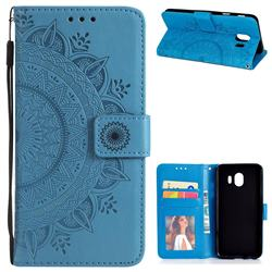 Intricate Embossing Datura Leather Wallet Case for Samsung Galaxy J4 (2018) SM-J400F - Blue