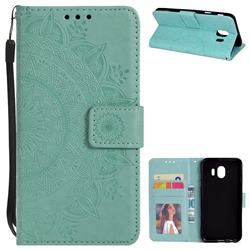 Intricate Embossing Datura Leather Wallet Case for Samsung Galaxy J4 (2018) SM-J400F - Mint Green