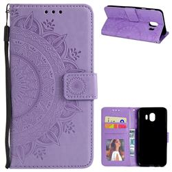 Intricate Embossing Datura Leather Wallet Case for Samsung Galaxy J4 (2018) SM-J400F - Purple