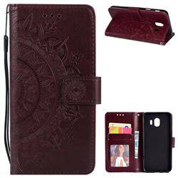 Intricate Embossing Datura Leather Wallet Case for Samsung Galaxy J4 (2018) SM-J400F - Brown