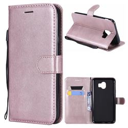 Retro Greek Classic Smooth PU Leather Wallet Phone Case for Samsung Galaxy J4 (2018) SM-J400F - Rose Gold