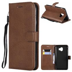 Retro Greek Classic Smooth PU Leather Wallet Phone Case for Samsung Galaxy J4 (2018) SM-J400F - Brown