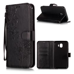 Intricate Embossing Dandelion Butterfly Leather Wallet Case for Samsung Galaxy J4 (2018) SM-J400F - Black