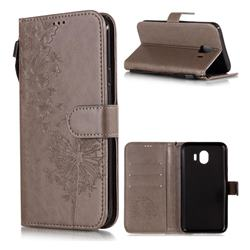 Intricate Embossing Dandelion Butterfly Leather Wallet Case for Samsung Galaxy J4 (2018) SM-J400F - Gray