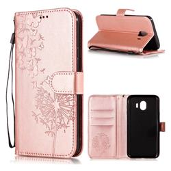 Intricate Embossing Dandelion Butterfly Leather Wallet Case for Samsung Galaxy J4 (2018) SM-J400F - Rose Gold