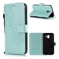 Intricate Embossing Dandelion Butterfly Leather Wallet Case for Samsung Galaxy J4 (2018) SM-J400F - Green