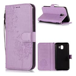 Intricate Embossing Dandelion Butterfly Leather Wallet Case for Samsung Galaxy J4 (2018) SM-J400F - Purple