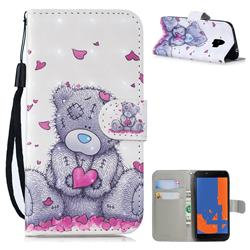 Love Panda 3D Painted Leather Wallet Phone Case for Samsung Galaxy J4 (2018) SM-J400F