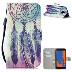 Feather Wind Chimes 3D Painted Leather Wallet Phone Case for Samsung Galaxy J4 (2018) SM-J400F