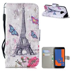 Paris Tower 3D Painted Leather Wallet Phone Case for Samsung Galaxy J4 (2018) SM-J400F