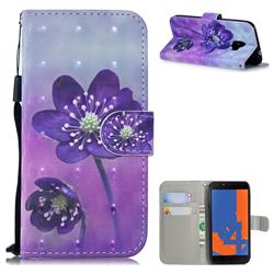 Purple Flower 3D Painted Leather Wallet Phone Case for Samsung Galaxy J4 (2018) SM-J400F